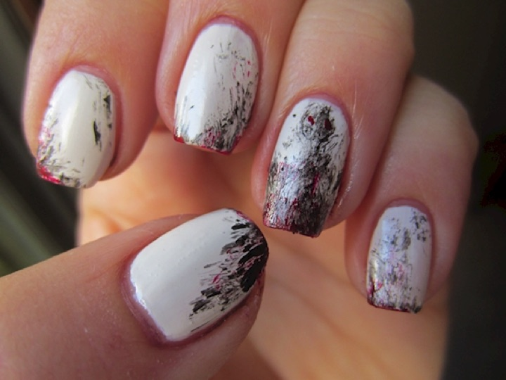 13 black and white nails that are classic and elegant 13 black and white nails paint strokes on a blank white canvas prinsesfo Choice Image