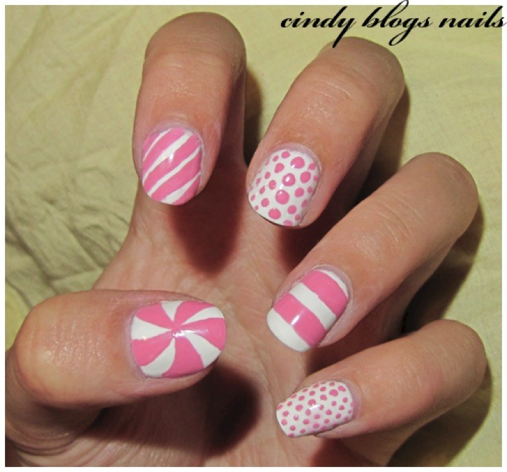 13 Black and White Nails - White and pink for a fun look.