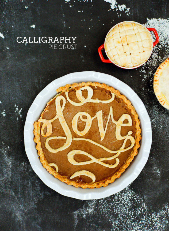 Calligraphy pie crust design.