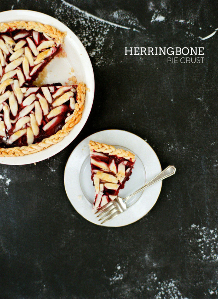 Herringbone pie crust design.