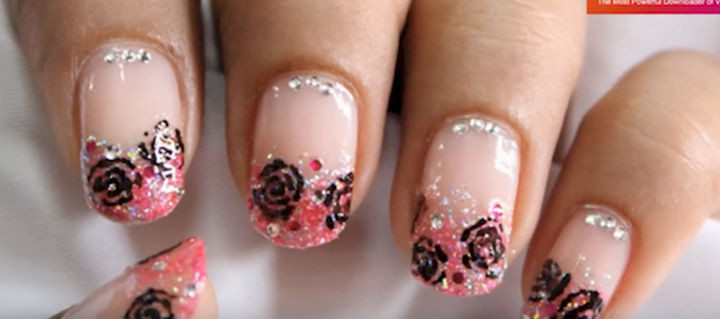 18 Gorgeous French Manicures With a Twist - WOW them with sparkles.
