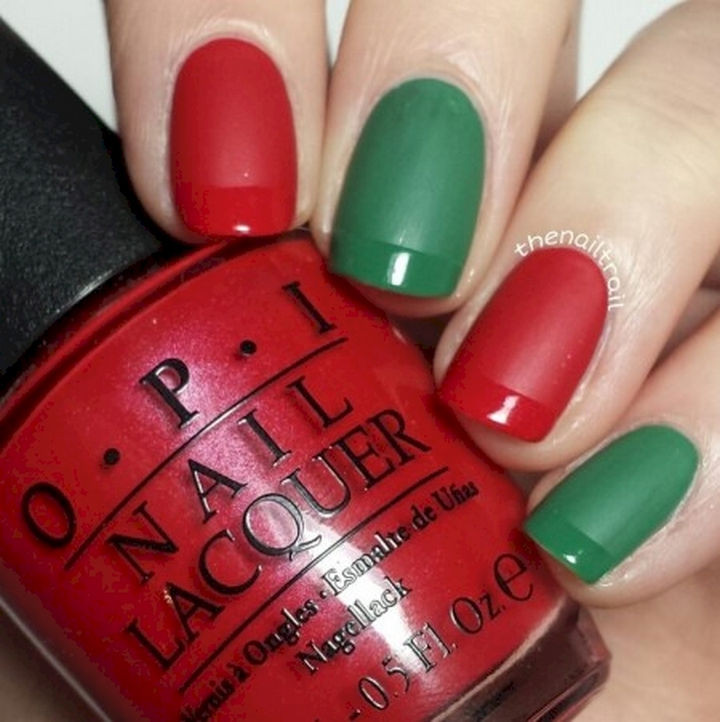 18 Gorgeous French Manicures With a Twist - Get festive with this red and green French manicure.