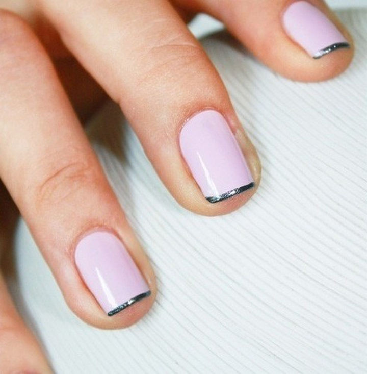 18 Gorgeous French Manicures With a Twist - A chic French Manicure with silver tips.
