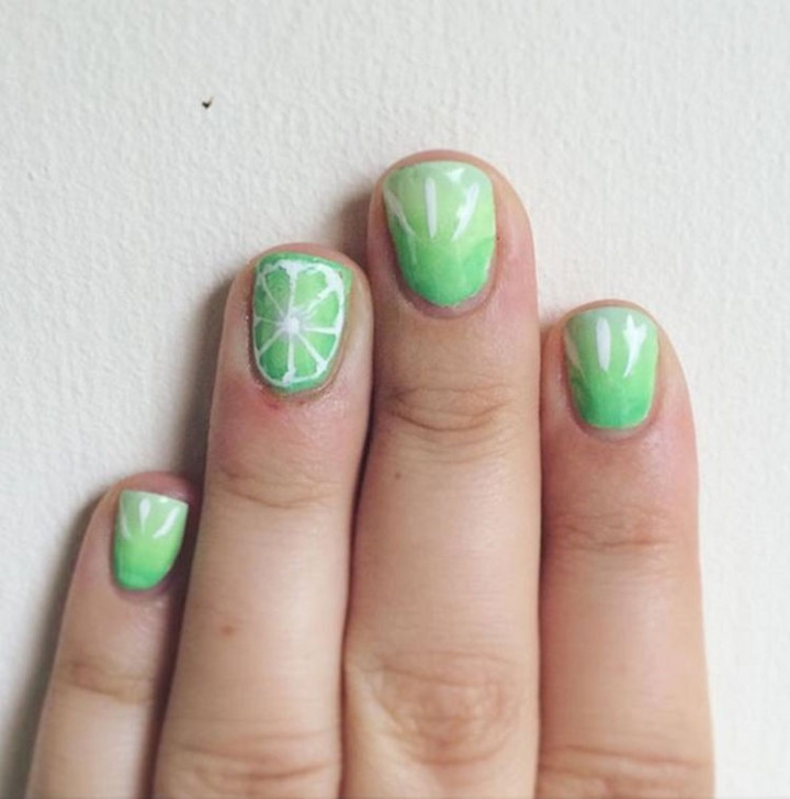 18 Green Manicures - Lime green nails.