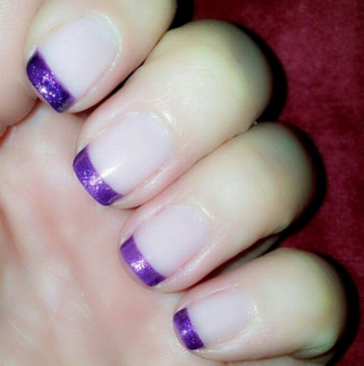 18 Purple Nail Art Designs - Purple French manicure.