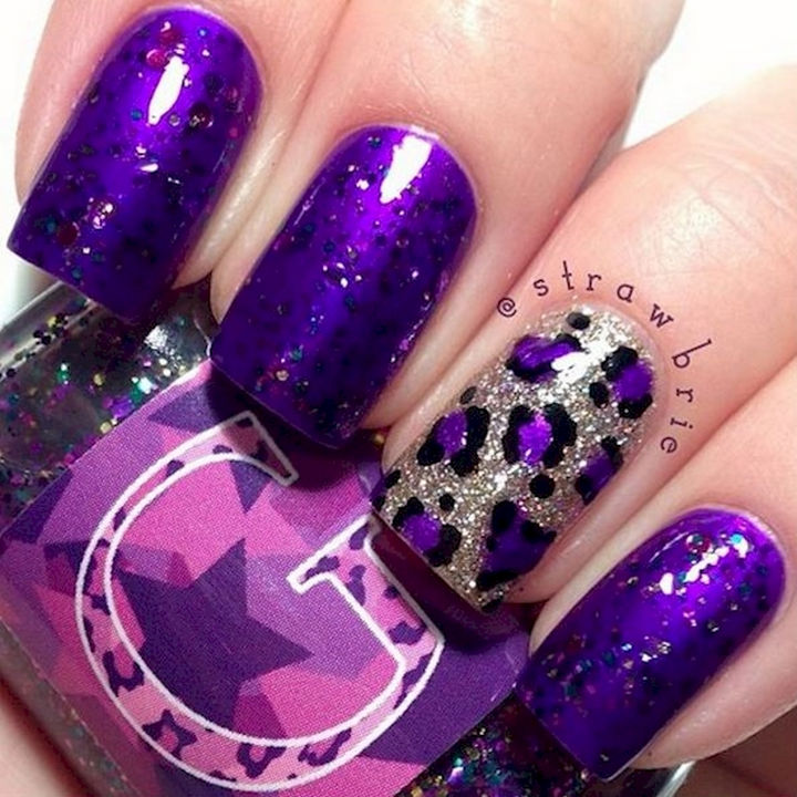 18 purple nail art designs that look sophisticated yet fun 18 purple nail art designs this combination of sparkles and color is a match made prinsesfo Images