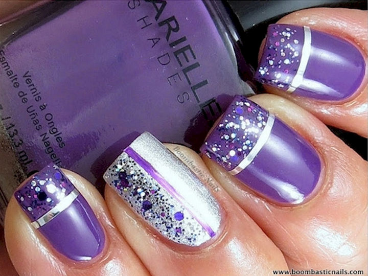 18 Purple Nail Art Designs - Purple glitter and striping tape look  incredible. - 18 Purple Nail Art Designs That Look Sophisticated Yet Fun