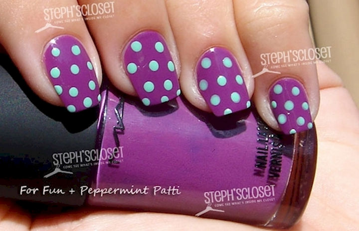 18 purple nail art designs that look sophisticated yet fun 18 purple nail art designs mint green polka dots and this luscious shade of purple prinsesfo Gallery