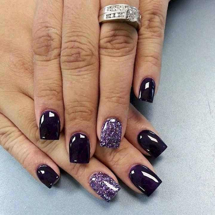 18 Purple Nail Art Designs - Glossy dark purple nail art looks beautiful.