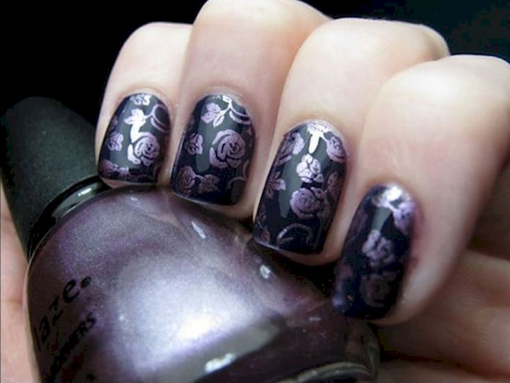 18 purple nail art designs that look sophisticated yet fun 18 purple nail art designs bring out the stencil for this intricate design prinsesfo Gallery