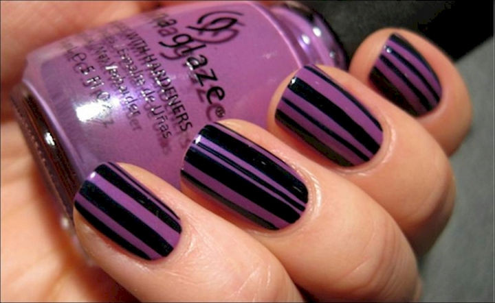 18 Purple Nail Art Designs - Kick it up a notch with purple stripes.