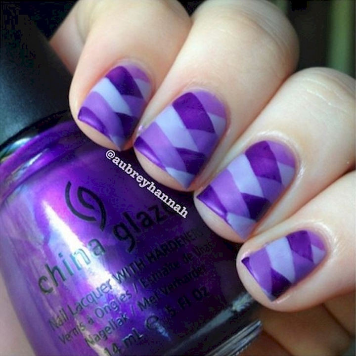 18 Purple Nail Art Designs - Gorgeous purple fishtail nails.