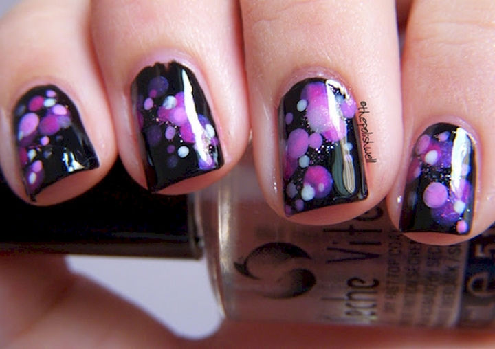 18 purple nail art designs that look sophisticated yet fun 18 purple nail art designs fun purple and pink polka dots on black prinsesfo Image collections