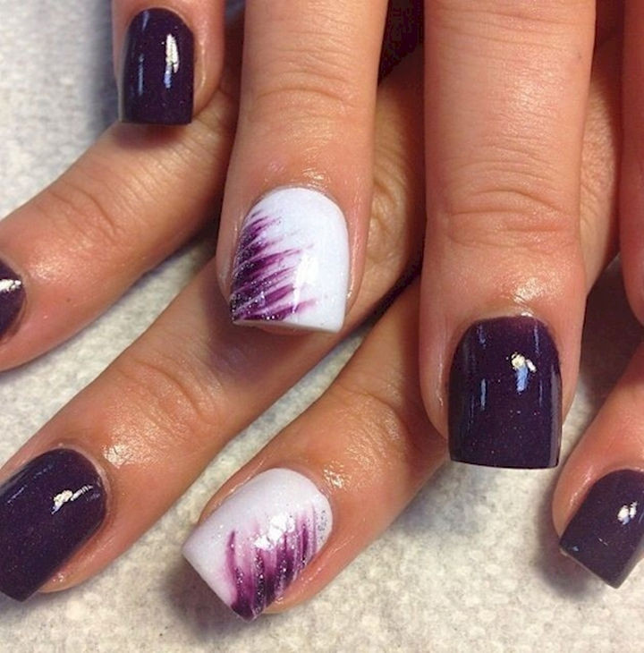 18 Purple Nail Art Designs - Great accent with purple streaks.