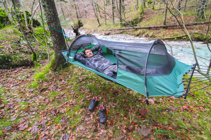 Hammocks are comfortable and so is the Blue Ridge Camping Hammock. All you need is a couple of trees to secure it and you're good to go!