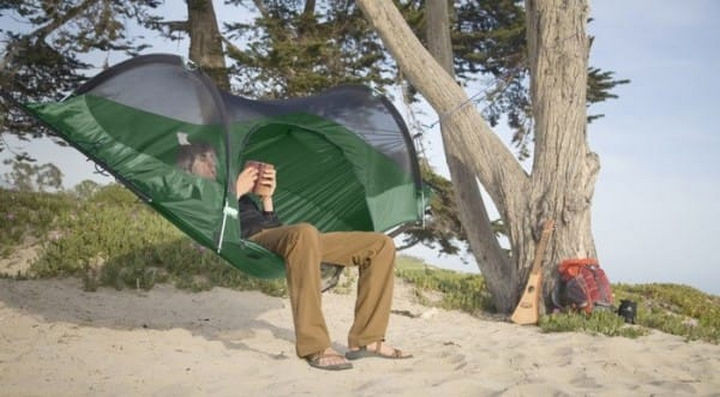 Camping with a tent doesn't get any more comfortable than this.