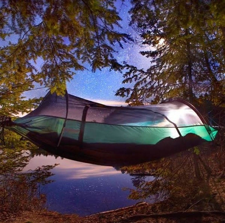 Sleep under the stars in total comfort with the Blue Ridge Camping Hammock build by Lawson Hammock Company.