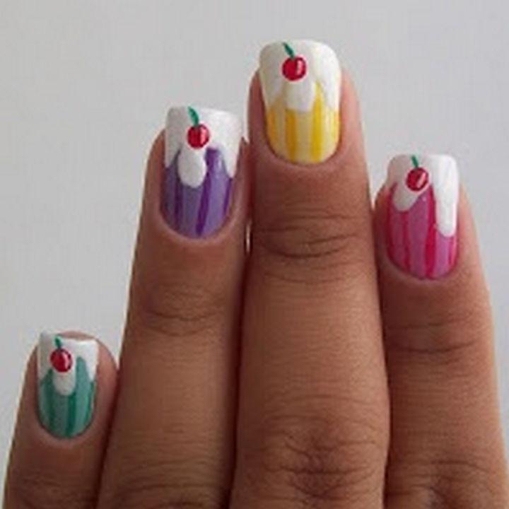 11 Dessert-Inspired Nail Art Designs - Sweet sundae nail art.