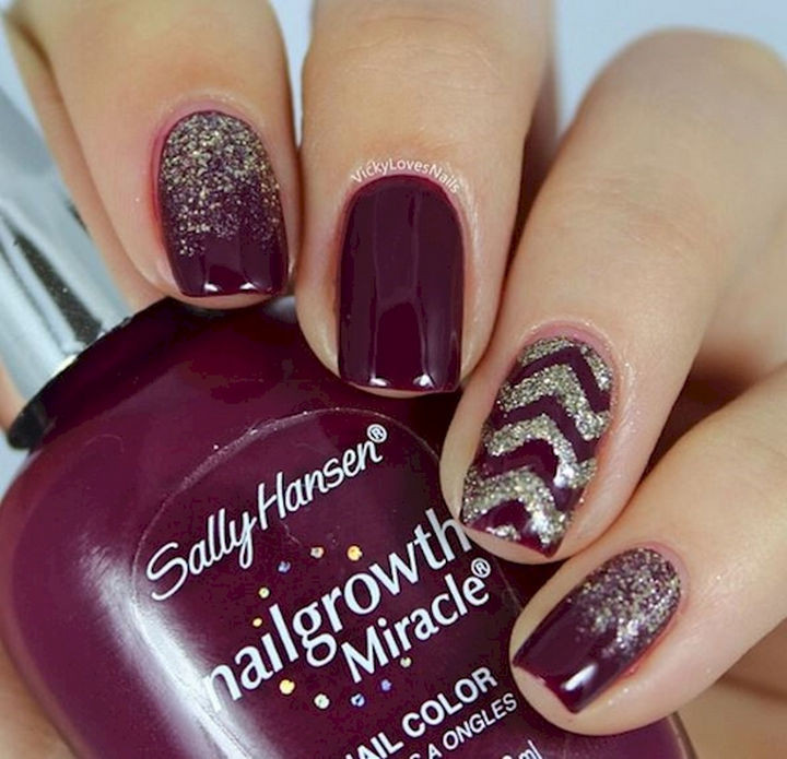 13 Plum Nails - Perfect plum nails with chevron pattern accents.