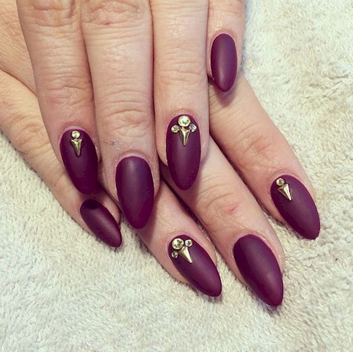 13 Plum Nails - A matte finish with gold studs to bring out the bling.