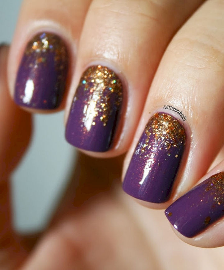 13 Plum Nails - Make your plum nails shimmer with a splash of pumpkin.