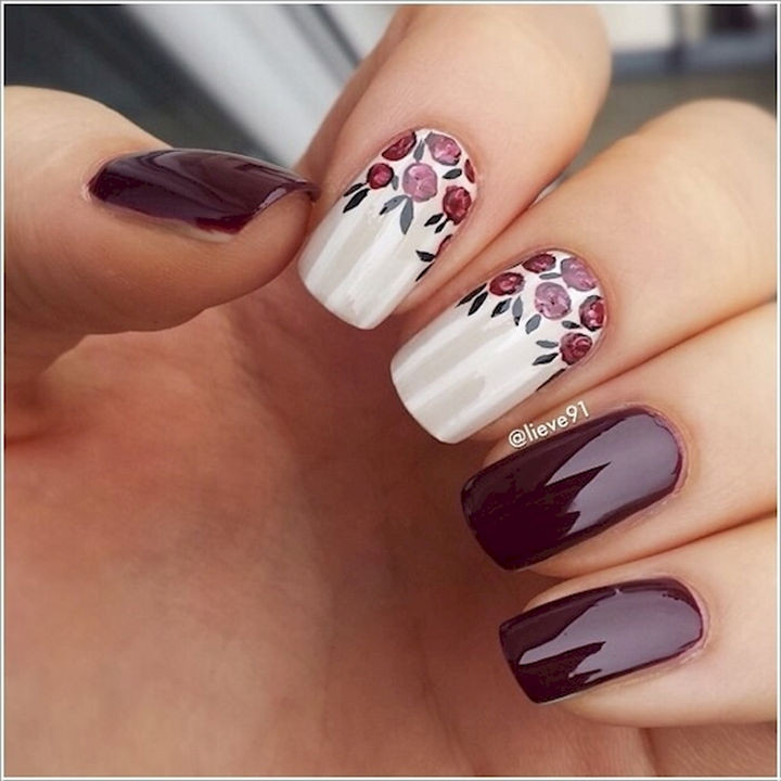 13 Plum Nails - Plum and white nails with nail art is the ultimate combo.