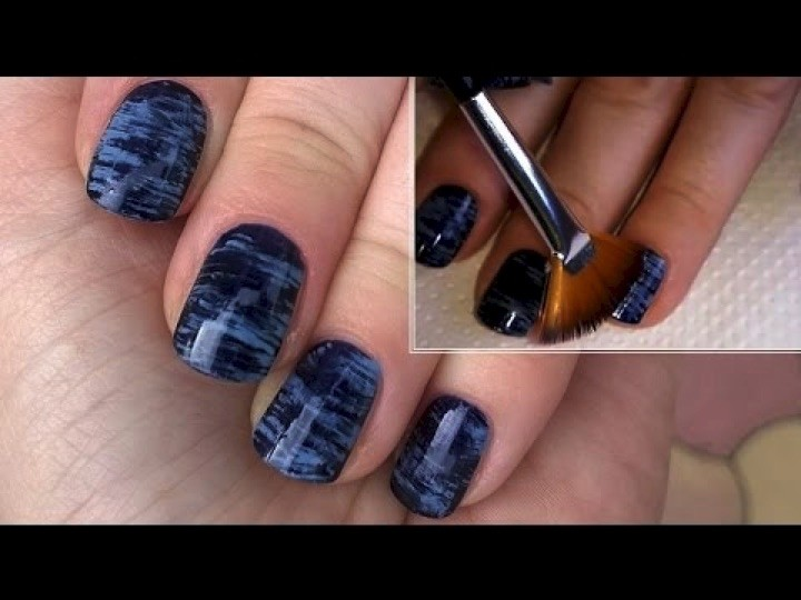13 Easy Nail Designs - Create a unique effect using a fan brush.