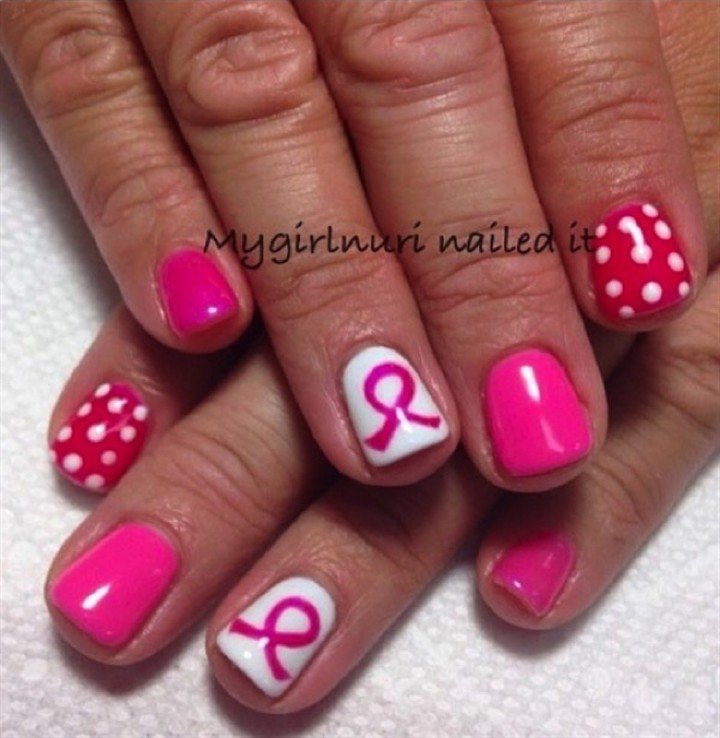 19 Breast Cancer Nails - Gorgeous pink polka dot nail art.