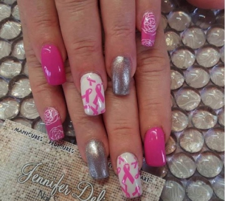 19 Breast Cancer Nails - Silver and pink go great together.