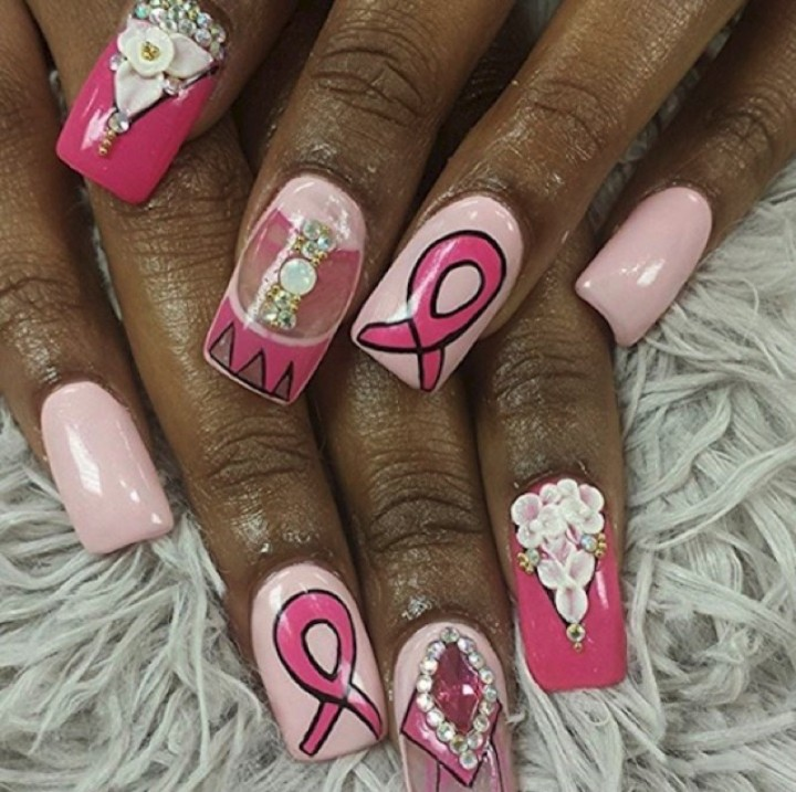 19 Breast Cancer Nails - Say with with flowers and gems.