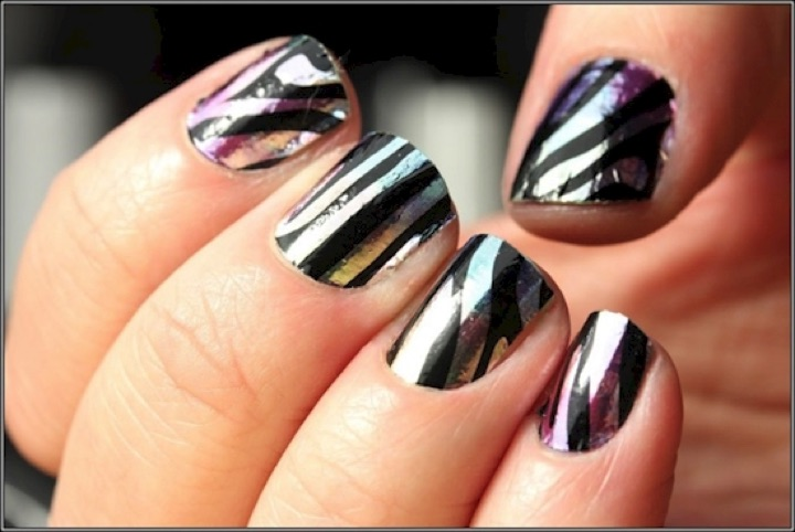 20 Metallic Nails - Looking wild with a metallic zebra pattern.