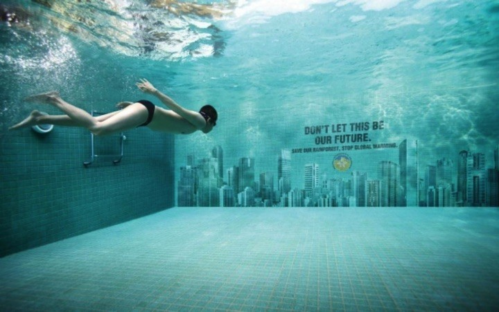 21 Creative Billboard Ads - Cities under water. Stop global warming.