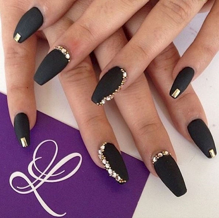 22 Black Nails That Look Edgy and Chic - Bring out the gold bling for a - 22 Black Nails That Range From Elegant To Edgy