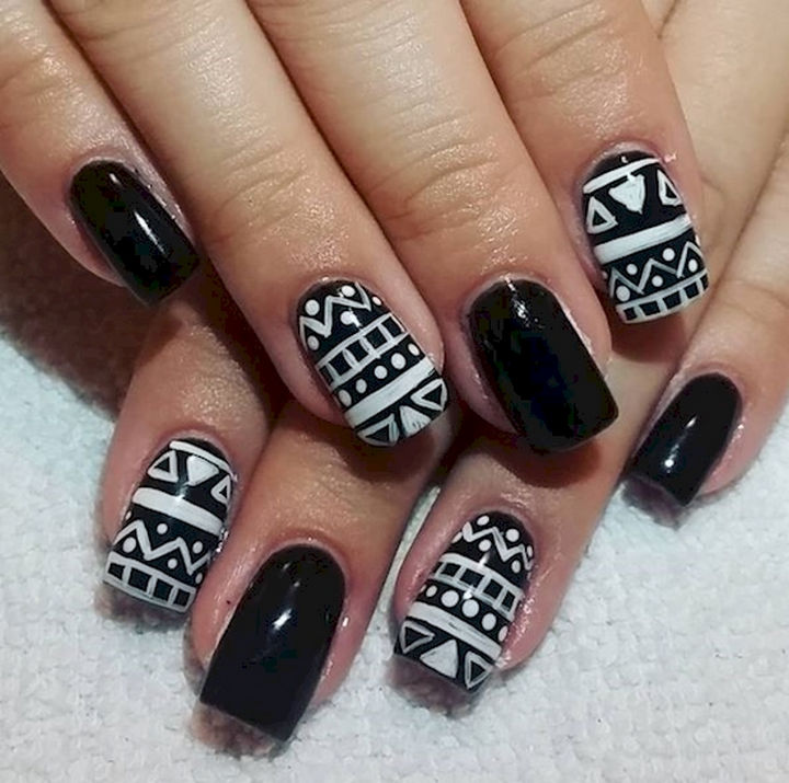 22 black nails that range from elegant to edgy 22 black nails that look edgy and chic white on black nail art designs prinsesfo Choice Image