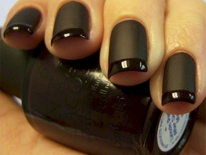 22 Black Nails That Look Edgy and Chic - Another beautiful black on black French manicure.