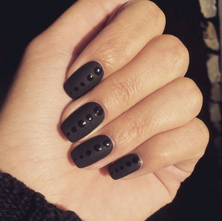 14) Awesome glossy dots on matte black nails. - 22 Black Nails That Range From Elegant To Edgy