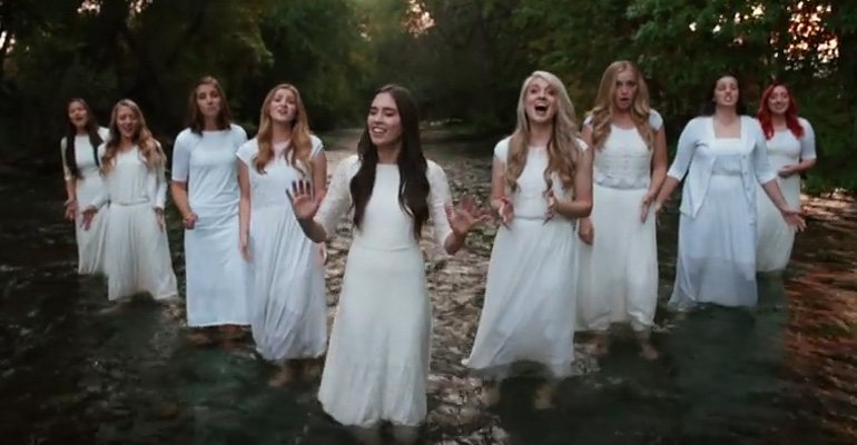 """9 Young Women Lined up and Their Cover Of """"Amazing Grace"""" Gave Me the Chills. Simply Beautiful."""