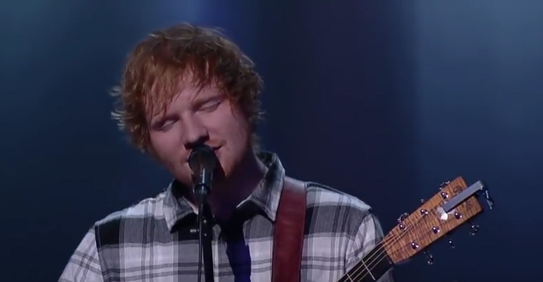 "Ed Sheeran performs Bill Withers' classic ""Ain't No Sunshine."""