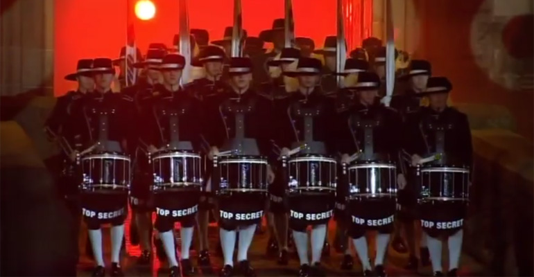 Top Secret Drum Corps Perform at Edinburgh Military Tattoo.