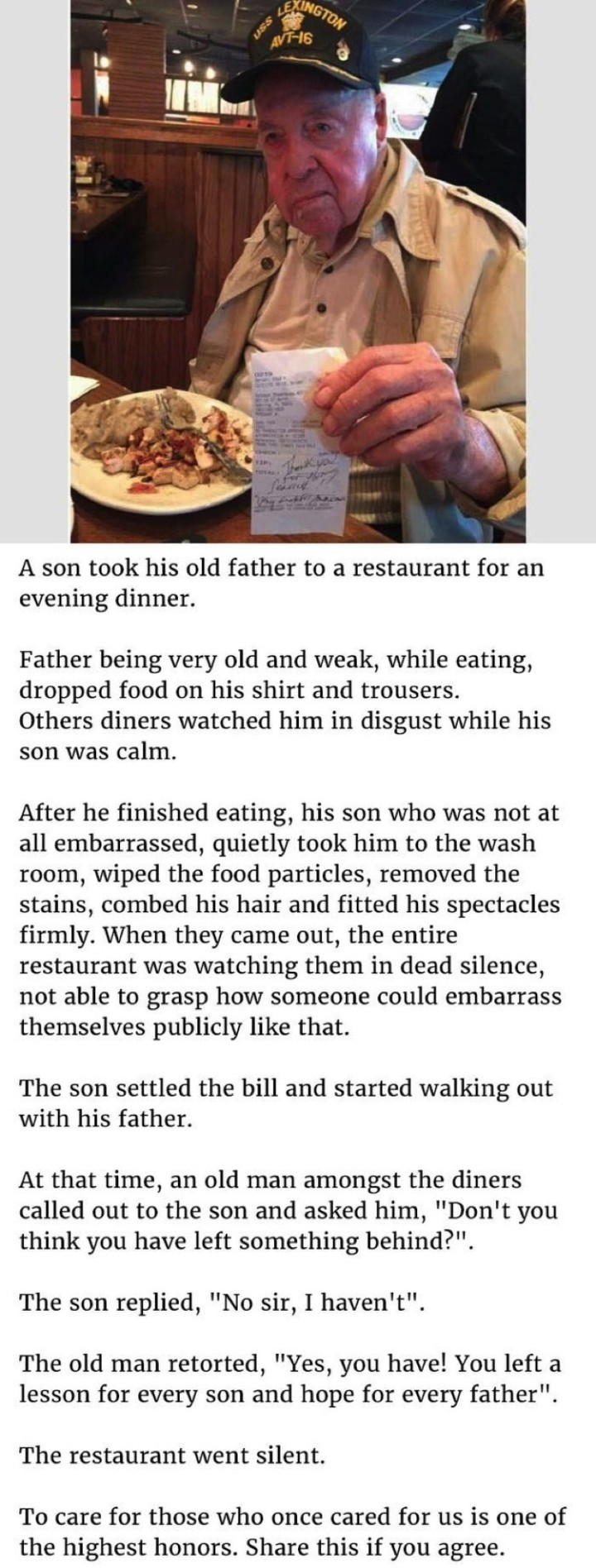 A Son Took His Father to a Eat and Taught Everyone a Lesson.