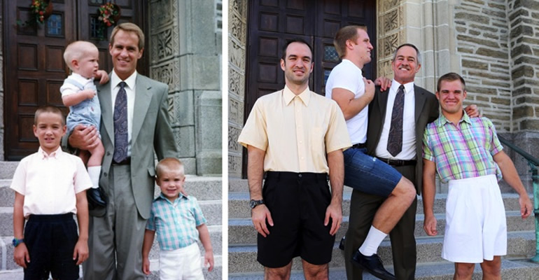 Three Brothers Recreated Childhood Photos as a Gift to Mom.