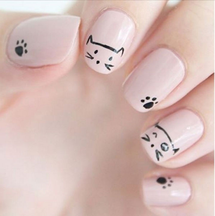 15 Cat Nail Art Manicures - Cats winking, too cute! - 15 Cat Nail Art Designs For The Kitty Lover That You Are