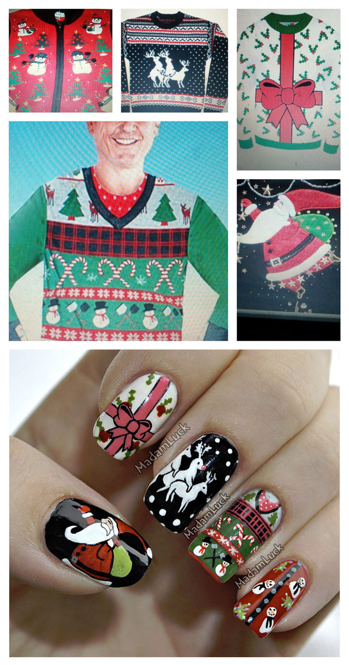 15 Ugly Christmas Sweater Nails - Five ugly Christmas sweaters transformed into five awesome Christmas sweater nails.