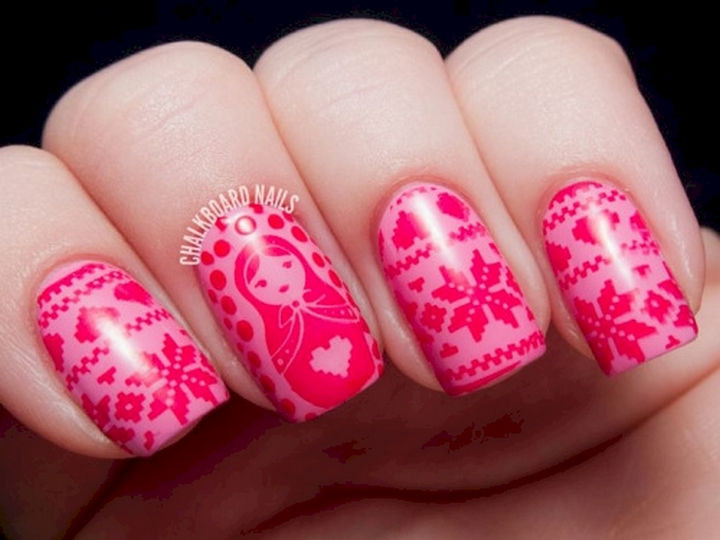 15 Ugly Christmas Sweater Nails - Colorful sweater nail art.