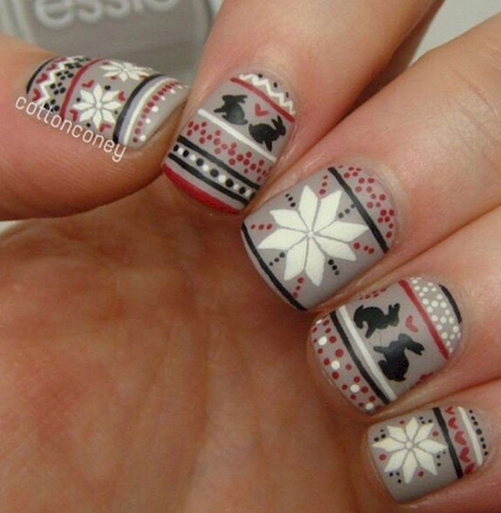 15 Ugly Christmas Sweater Nails to Ring in the Season