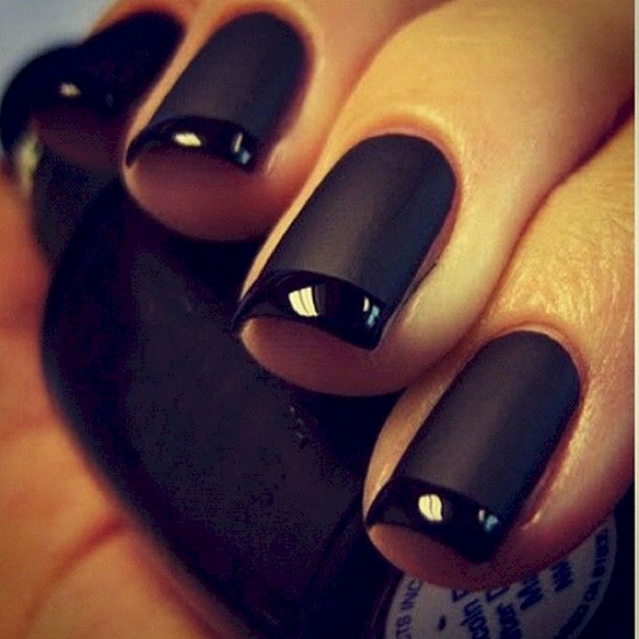 17 French Nails With a Twist - .A black on black French mani.