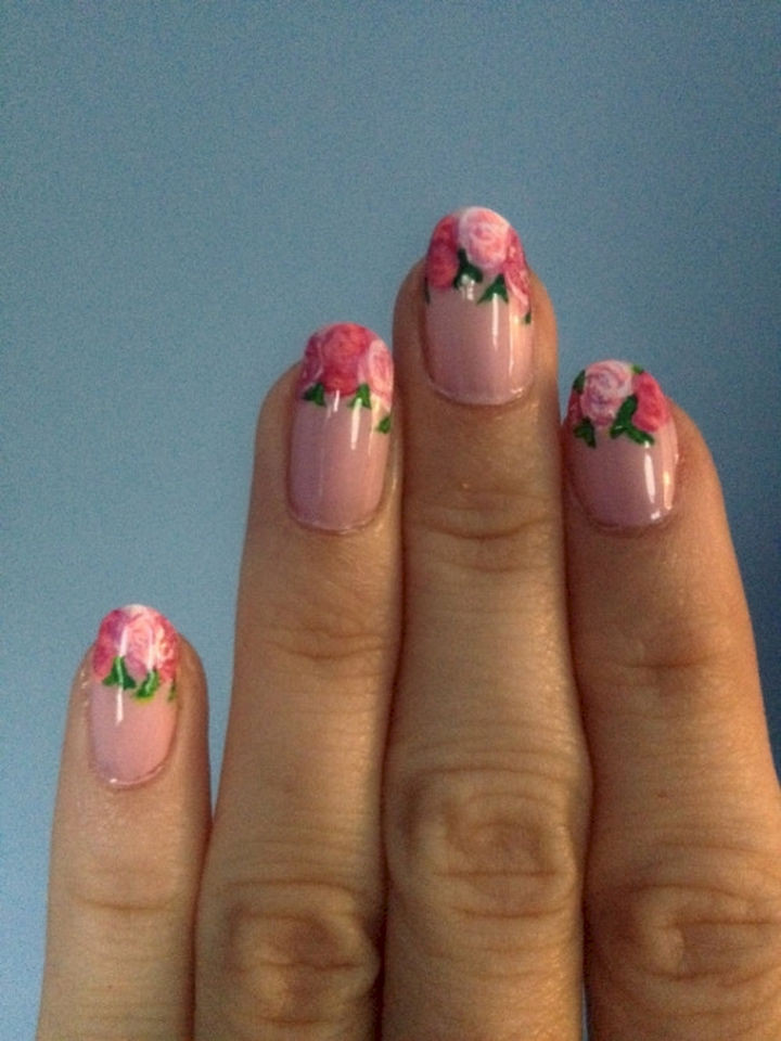 17 French Nails With a Twist - French mani with rose tips.