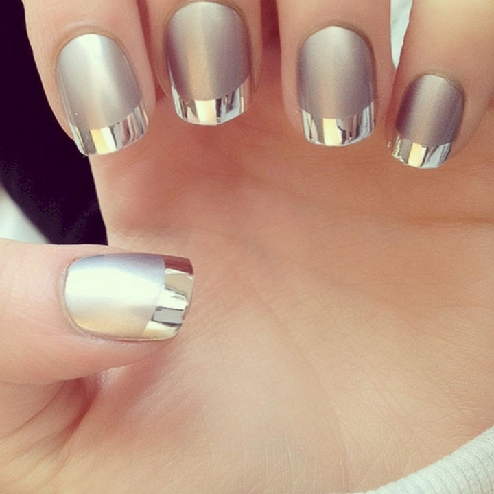 17 French Nails With a Twist - Silver on silver looks incredible.