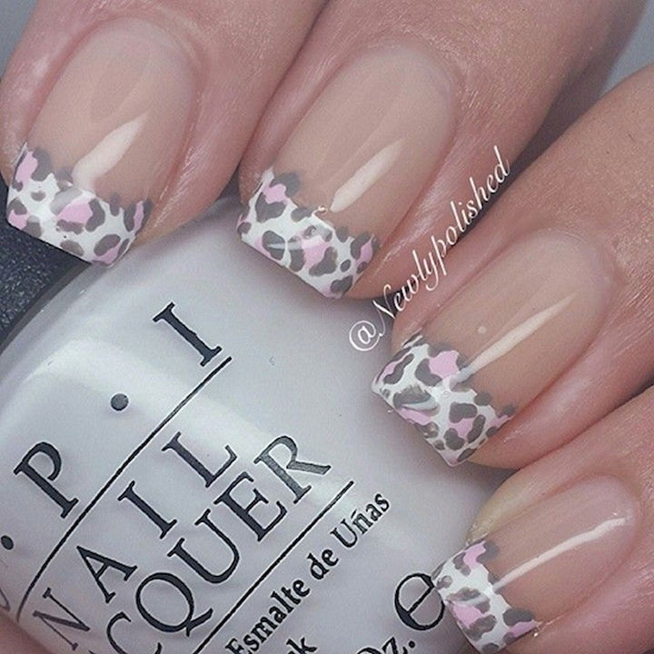17 French Nails With a Twist - Go wild with animal prints.