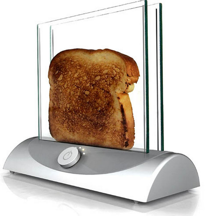 17 Clever Inventions - Never burn your toasts again with a glass toaster.